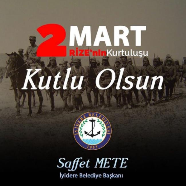 Başkanımız Sayın Saffet METE'den Rize'nin kurtuluşu dolayısıyla mesaj yayınlandı.